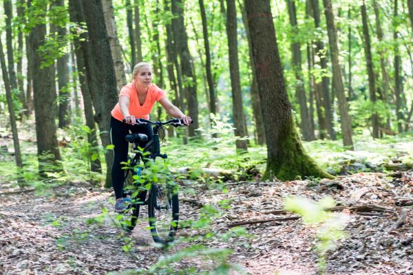 woman on mountain bike bike on