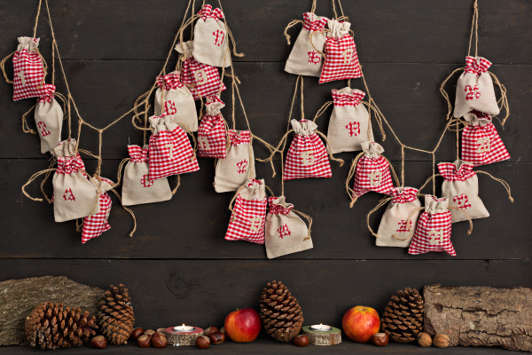 advent calendar with wooden background