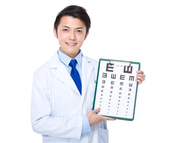 optician with eye char