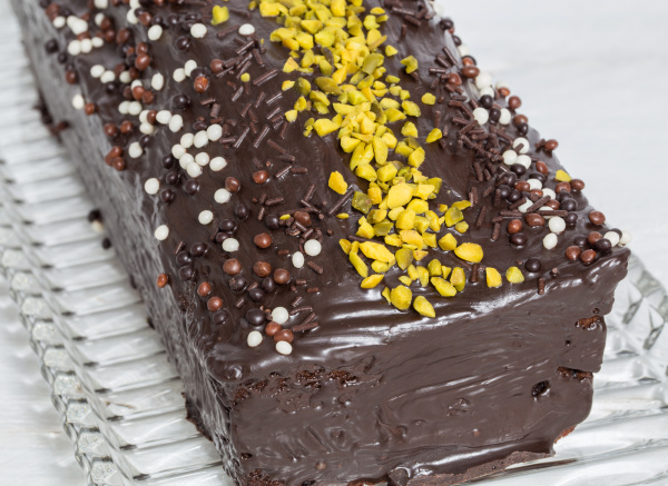 chocolate cake with pistachios detail macro