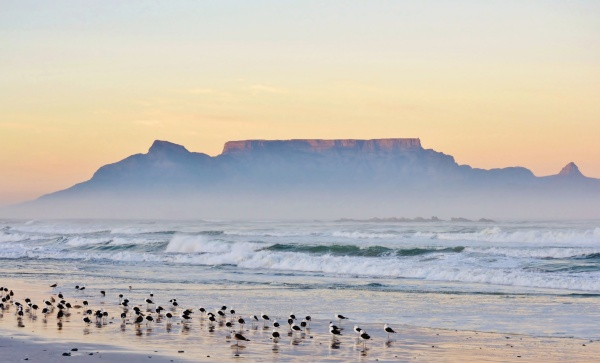 landscape with table mountain and sea