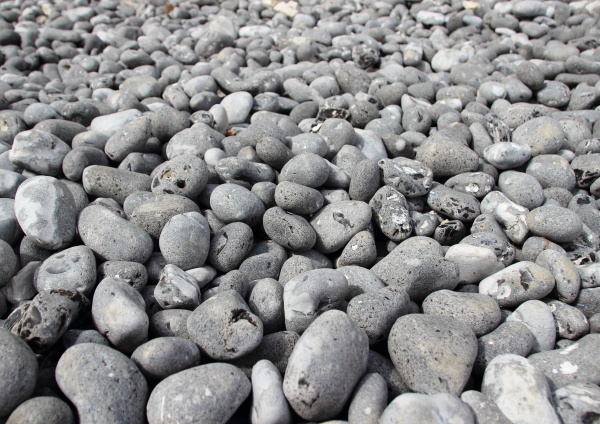 rubble beach stones with endless perspective