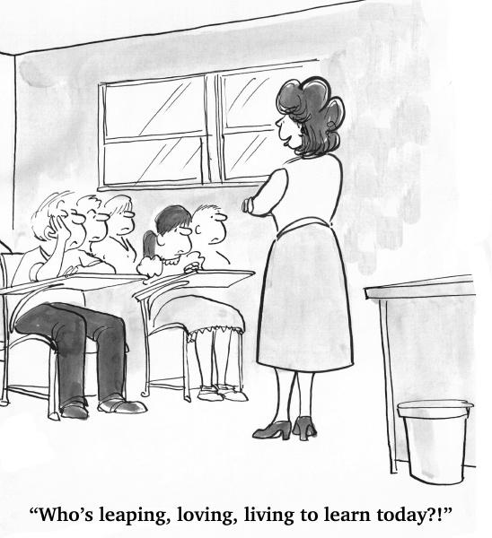 the teacher looks at the bored