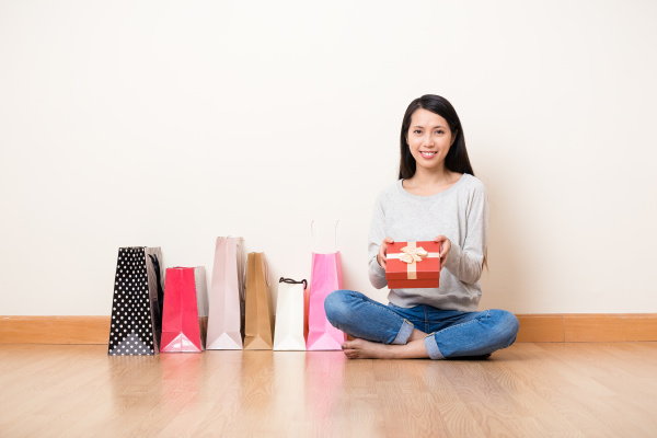 woman hold with present box with