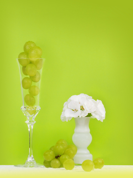 grapes in a champagne glass