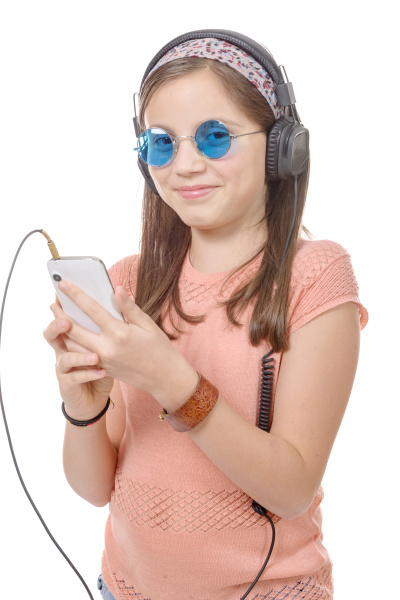 preteen, girl, listening, to, music, with - 16339413