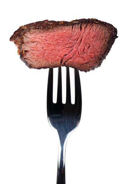 grilled, steak, on, a, fork - 16342347