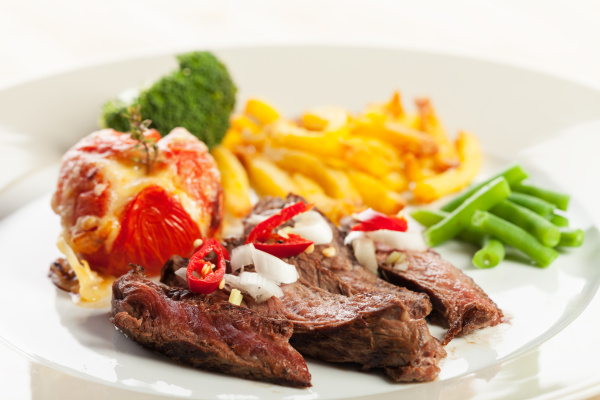 grilled, steak, with, french, fries, and - 16342357