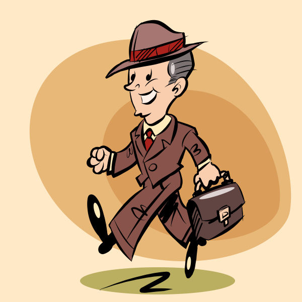 smiling, retro, businessman, goes, to, work - 16345299