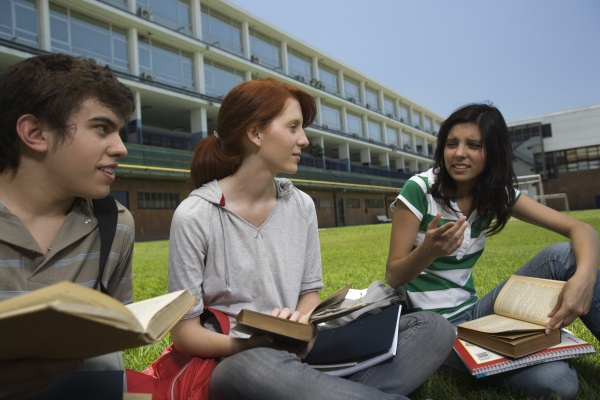 high school students having study group