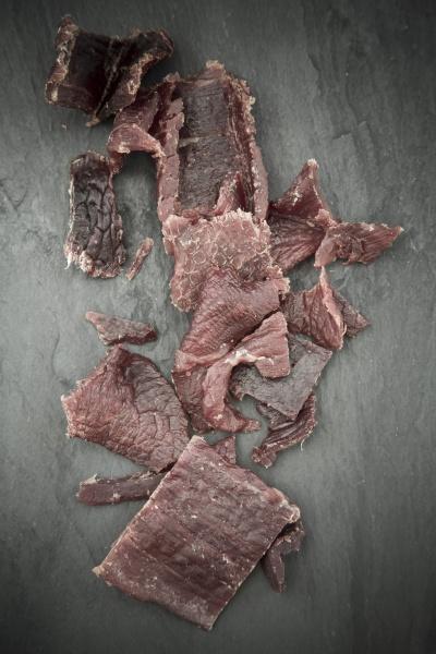 beef jerky on slate