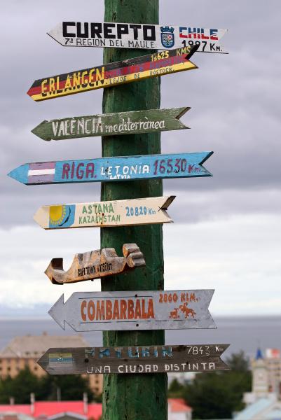 signposts in punta arenas chile