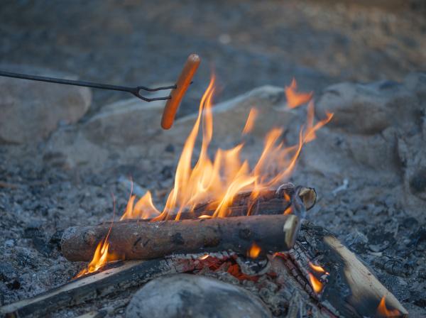 sausage over campfire