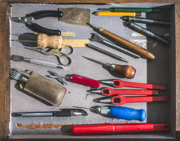 set of tools for processing leather