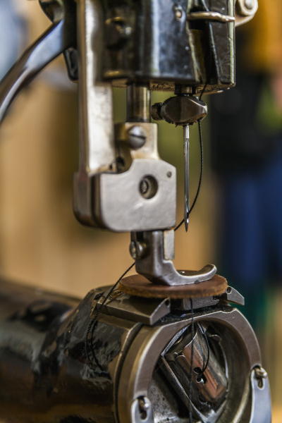 leather sewing machine close up