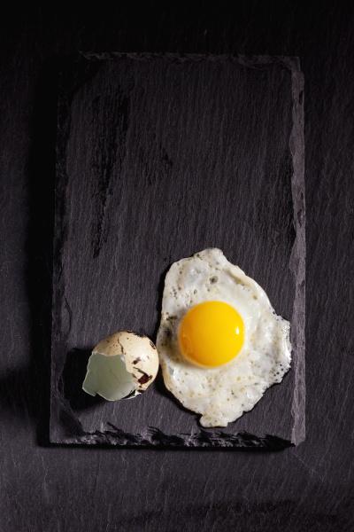 fried quail egg and eggshell on