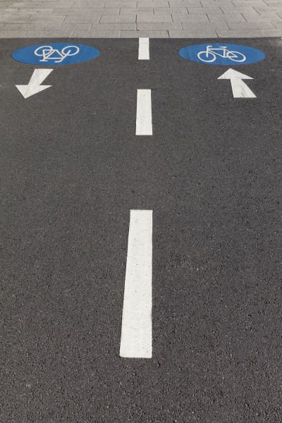 arrow signs on bicycle lane
