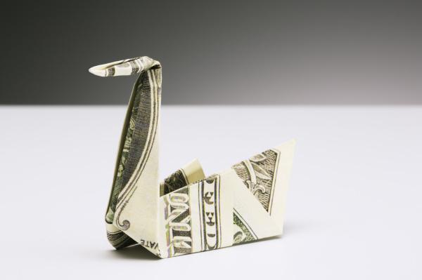 origami swan made of dollar bill