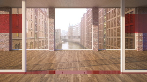 empty room with parquet and glass