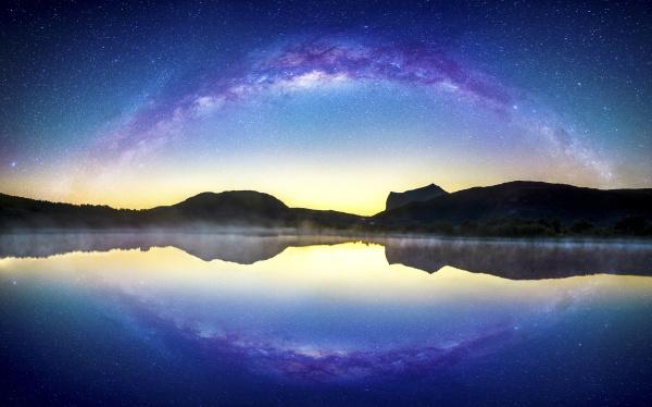 norway lofoten leknes lake at sunset
