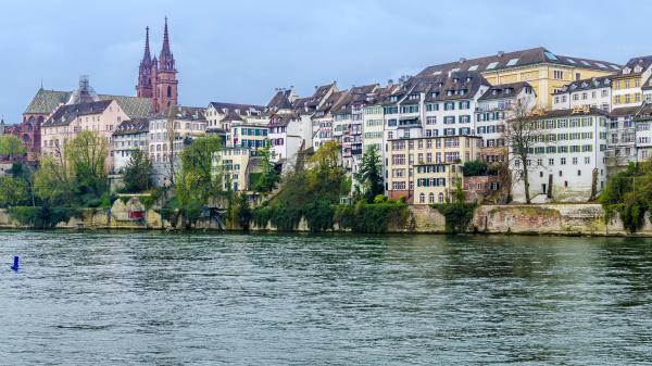 switzerland basel cityscape with