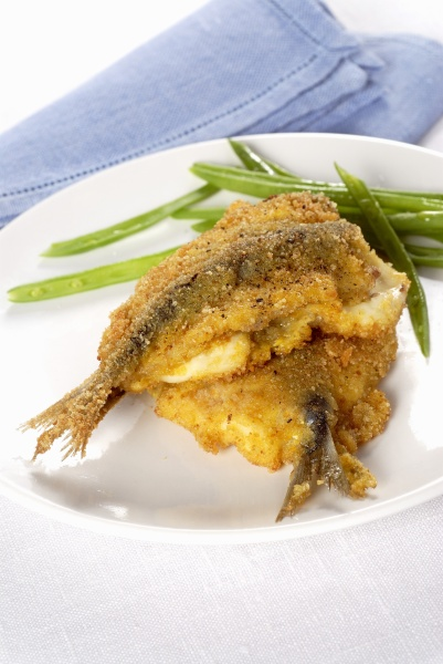 battered sardines with primosale cheese