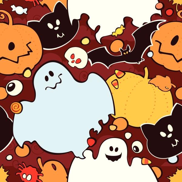 seamless pattern for halloween pumpkin ghost