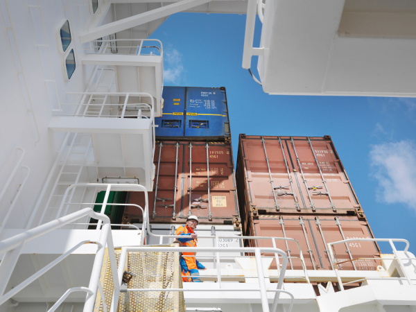 sailor waking in cargo area