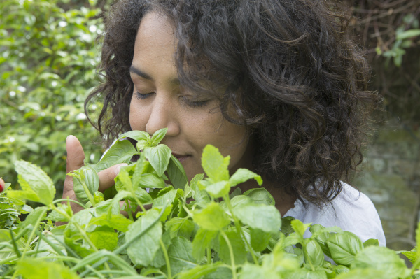 mid adult woman smelling herbs in