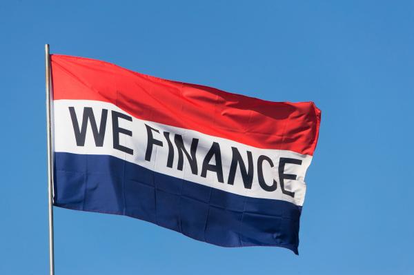 flag saying we finance