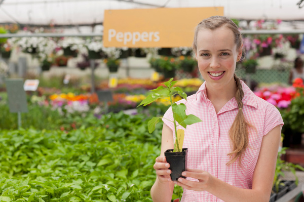mid adult woman holding plant in