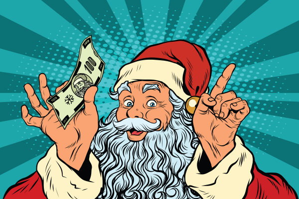 santa claus with money new year