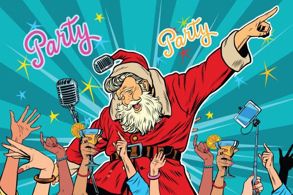 christmas party santa claus singer