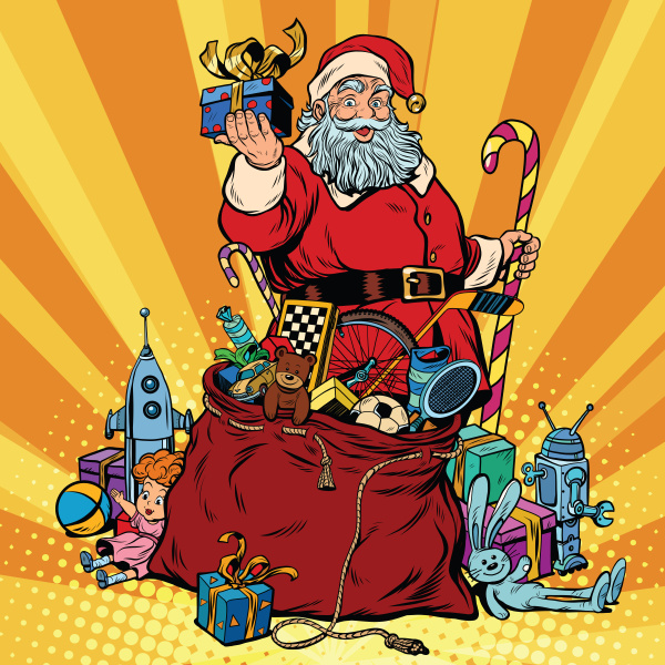 santa claus with bag of gifts