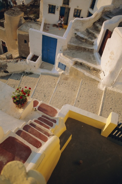 narrow steps thira fira santorini cyclades