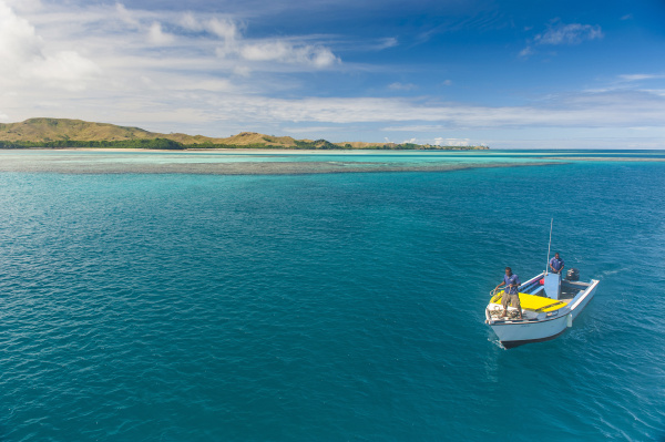 little boat in the blue lagoon