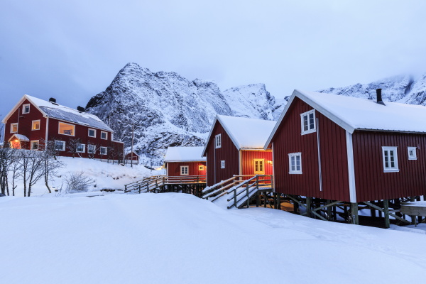 fresh snow on the typical norwegian