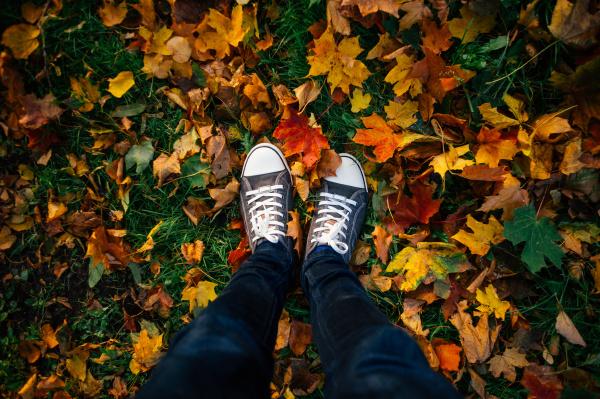 teenage legs in sneakers in autumn