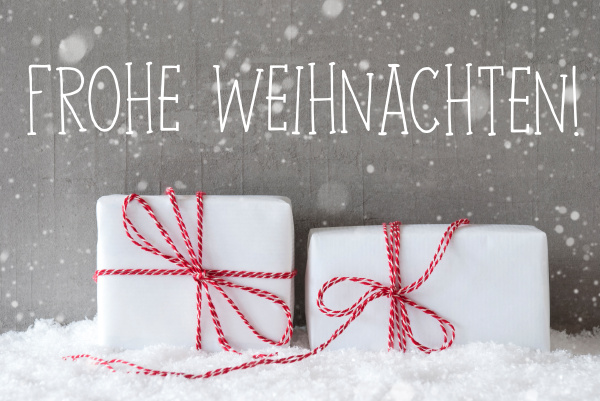 two gifts with snowflakes frohe