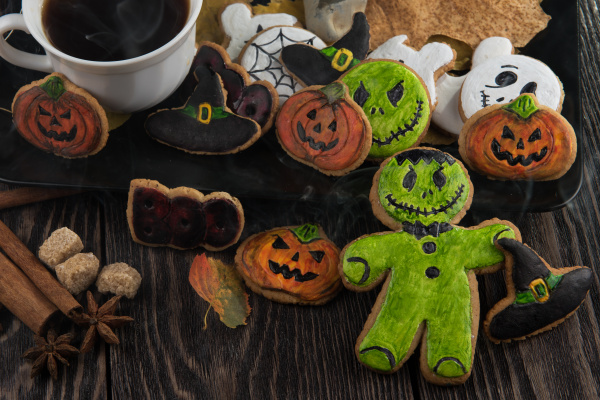 homemade delicious ginger biscuits for halloween