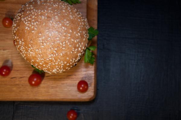 delicious fresh hamburger on a chopping