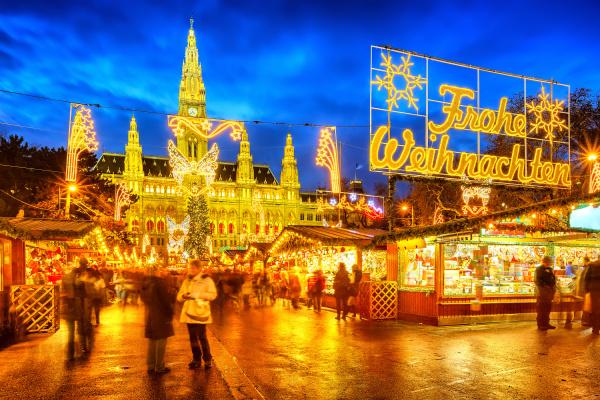 christmas market with merry christmas