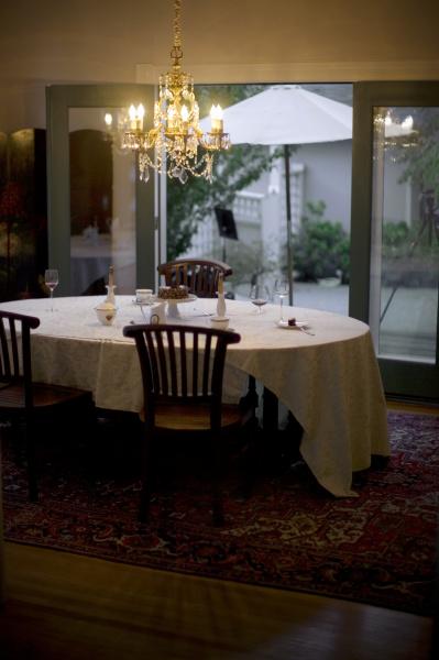 dining table set for dessert underneath