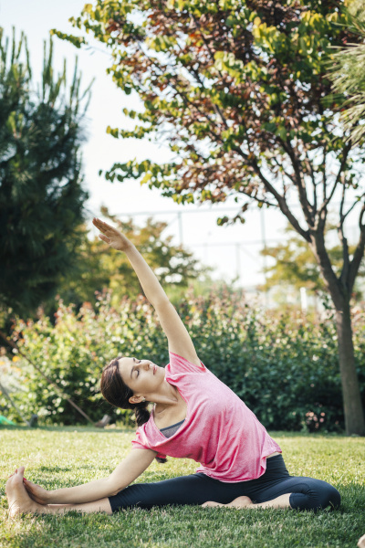 young woman doing yoga in the