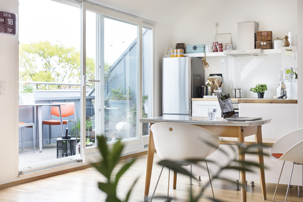 kitchen and balcony in a flat