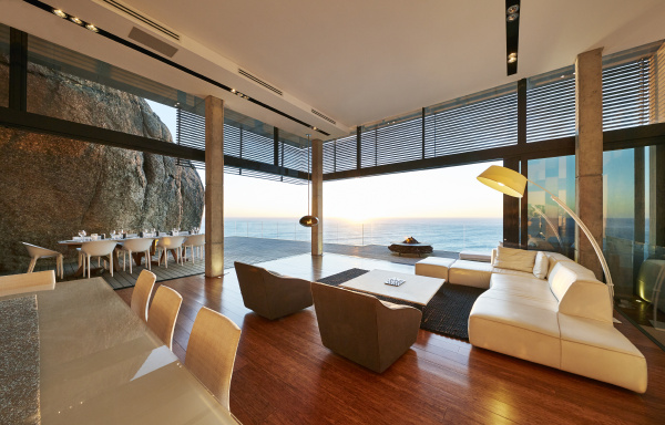 modern luxury living room open to