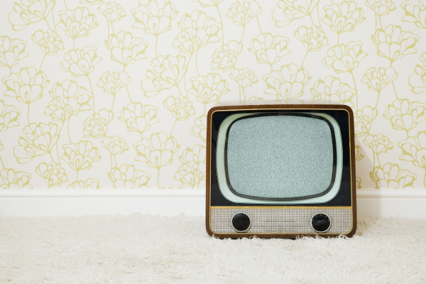 retro television in room with patterned