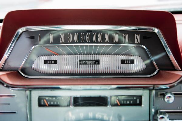close up of vintage car radio