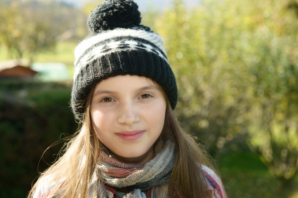 young pre teen with a winter