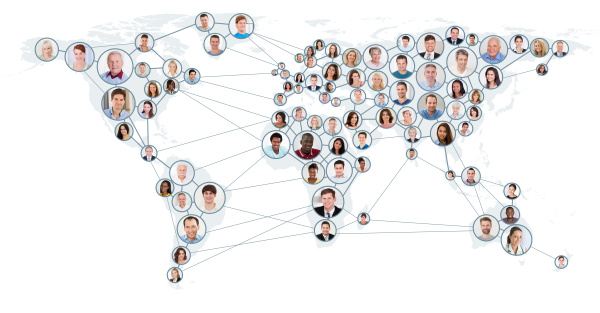 network and communication concept on world